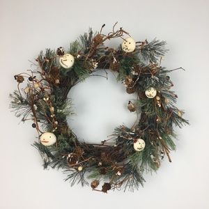 Other - Rustic Twiggy Grapevine Snowman Pine Cone Wreath